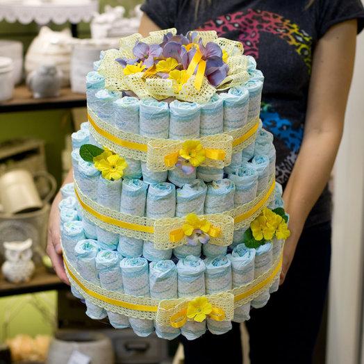 Торт из памперсов Поздравляем с рождением: букеты цветов на заказ Flowwow