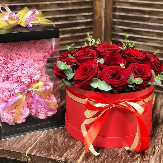 Набор 17 роз и мишка: букеты цветов на заказ Flowwow