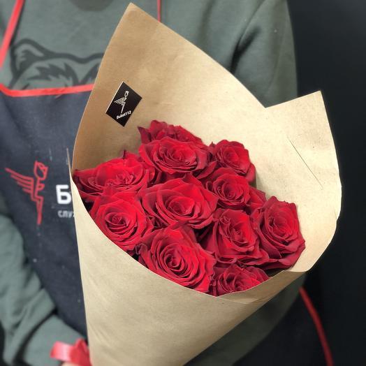 11 красных роз 60 см