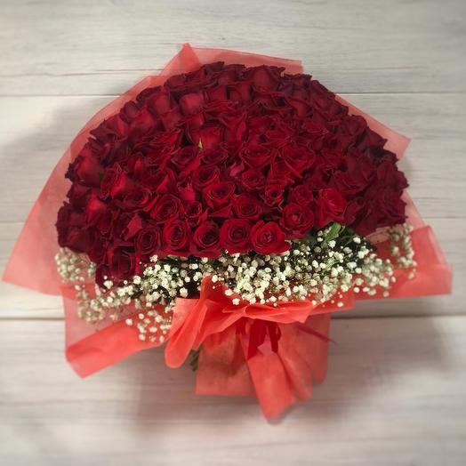 14 февраля 101 роза: букеты цветов на заказ Flowwow